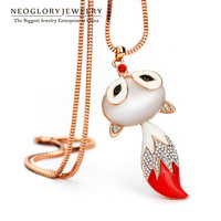Neoglory Rhinestone Opal Fox Design Chain Long Pendant Necklaces For Women Rose Gold Plated Jewelry Accessories 2014 New LN1