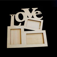 A11 Free shipping Hollow Love Wooden Photo Frame White Base DIY Picture Frame Art Decor  T1066 P