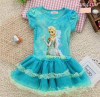 lowest 2014 frozen movie elsa princess dress anime cosplay halloween christmas costumes for kids children baby Tutu dress