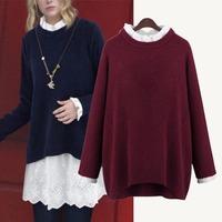sweaters 2014 women fashion winter college shool girls cute wine red long sweater plus size XXXXXL 4XL Crochet Blouse Clothing