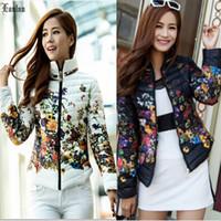 Lanluu New 2014 Trendy Winter Wear Print Floral Fashion Women Short Down Cotton Parkas Coats SQ870
