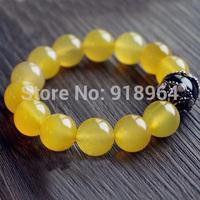 D641 Man Woman Fashion Tibet Jewelry National Yellow Agate Jade Buddha Lucky Energy Healthy Power Bracelets