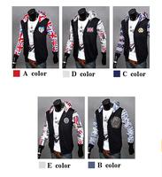 2014 New Autumn Men's Flag Jacket British America Flag Men's Hooded Jacket Size:M-XXL 5 Colors