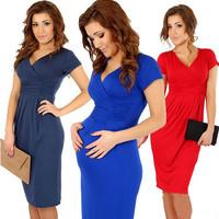 2014 New Elegant Empire V-neck Knee-Length Cotton Formal Maternity Evening Dresses For Pregnant Women Red Black Blue plus size