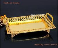 Medium Size golden metal tin alloys cutwork design decorative KTV snack trays fruit tray / fruit plate wedding decoration
