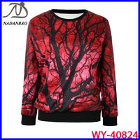 Autumn Winter 2014 Fashion Women Hoody The Maple Tree 3D Printed Sweatshirt Women Loose Long Sleeve Red Sport Suit WY-40824