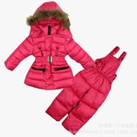 2014 New Children's Winter Clothing Set baby girl Ski Suit Windproof Warm Coats Fur Jackets+Bib Pants Outdoor girls sports suit