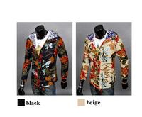 2014 New Autumn Men's Print Floral Jacket Hip-Hop Men's Hooded Jacket Size:M-XXL 2 Colors