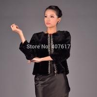 LTMB  WomenRex Rabbit Fur coat short COAT with o-neck collar&three quarter sleeve Zipper Front  fur coat 2014 new