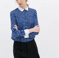 New Fashion Ladies' elegant Plaid print long blouses turn down collar long sleeve Shirts casual slim brand designer tops