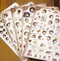 30pcs/lot DIY Kawaii Korea Girl PVC Decorative Sticker For Scrapbooking Diary Mobile Stickers Wholesale