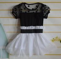 Children's clothing Black & White Color Tight Waist Design Petti Tutu Dresses girls dress  chiffon dress free shipping