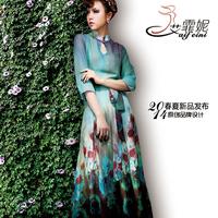 2014 vintage print slim elegant three quarter sleeve chiffon one-piece dress women's expansion bottom full dress