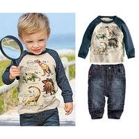 6set/lot wholesale long sleeve kids boy t-shirt denim pants 2pcs set for spring autumn child clothes ,casaual sets