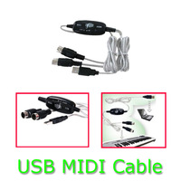 10pcs/lot Promotion 2M  USB Midi Cable Lead Adapter Keyboard Interface to PC for XP Vista Mac Windows