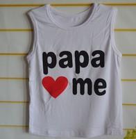 Papa Mama Love Me Design  Children'S T-Shirts  Children's clothing children vest top sleeveless T shirt   free shipping