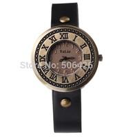 10pcs 2014 New Fashion Real Pu Leather Wide Strap Quartz Ancient Styles Men Women Brown Retro Watches Hot Sale