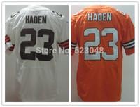 Wholesale&retail 2014 American 23 Joe Haden Cleveland men's football jerseys,orange white Elite shirts in top quality,M-3XL