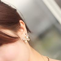 Pearl Butterfly Pierced Drill Earrings New Features Novelty Pop Earrings