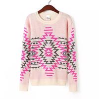 2014 lady fashion geometric prints dark blue pink knitwear o-neck pullover sweater 350711
