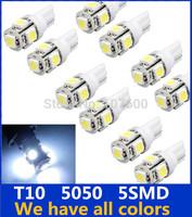 10pcs T10 Wedge Clearance lights 5050 5SMD Xenon LED Light bulbs Fog light 192 168 194 W5W 2825 158 Brake lamp LED DRL Discounts