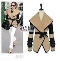 2014 New Cashmere Coat Fashion Winter Wool Large Lapel Women Casacos FemininosTrench  Desigual Coat Plus Size M XXXL