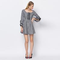 YIGELILA 6706 Latest Autumn New Full Sleeve Plaid Dress For Women Free Shipping