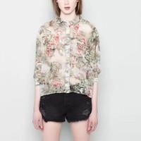 New Fashion Ladies' elegant Floral print blouses turn-down collar long sleeve casual slim shirts brand designer tops