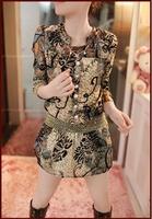 Hot Selling New 2014 Dress Vintage O-neck Slim Casual Dress Girls Retro Print Women Dresses Golden Belt  A131