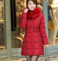 Korean Version Women Padded Jacket 2014 New Winter Coat, Fashion Temperament Slim Jacket Women with Belt