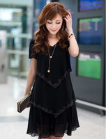 Free shipping 2014 plus size autumn chiffon dress short-sleeve female cocktail summer dress misses dresses casual knitted dress