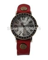 10pcs/LOT Fashion Watch Women Leather Vintage Watches Ancient Bronze Flower Pendant Bangles Watch For Women
