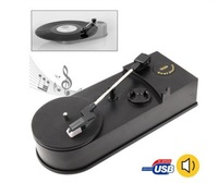 Mini Phonograph Vintage Vinyl turntable to MP3/WAV Record Player for 33/45RPM Vinyl LP Turntables, USB to PC, Plug and play, R/L