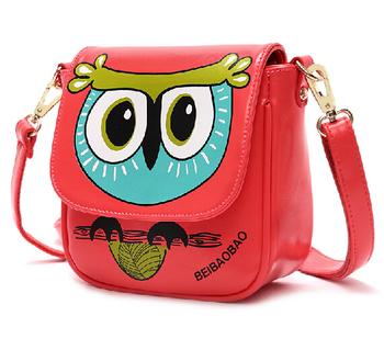 бесплатная доставка 2014 новый дизайн конфеты цвет сова леди сумка мультфильм printting цветок Одноместный плеча сумку