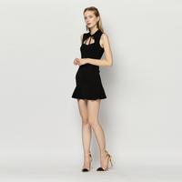 YIGELILA 6707  Latest Summer New Black Sleeveless Cocktail Dress For Women Free Shipping