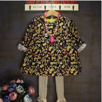 Ton On Top wholesale fashion handmade Retro floral waist long-sleeved flower girl dress free shipping