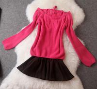 Brand New Fashion 2014 Autumn Women Woolen Wool Lace Bow Dress Ladies Elegant Party Casual Vestidos T2091