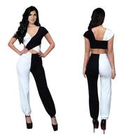 Women Sexy V-Neck Bandage Bodycon Black White Splice Jumpsuit Romper Clubwear