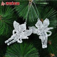 Free shipping christmas tree ornaments 6x8cm snow white acrylic violin christmas angel
