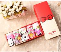 5 pcs/lot 2014 new cute baby girls underwear children Cotton cartoon panties with gift box for 3-10 years girls