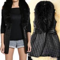 2014 Winter New Women's Long Vest Faux Fur Collar Synthetic Leather Waistcoat Jacket Sheep Piga Cotton Grass Vest
