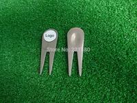 DHLFree Shipping! High Quality Design Customize Logo 120pcs Sliver Aluminium Alloy Golf Divot Tool Pitch Repair Hat Money Clip