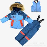 2014 New Children's Winter Clothing Set baby boy Ski Suit Windproof Contrast color Warm Coats Fur Jackets+Bib Pants+Wool Vest