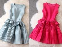 Brand New Fashion 2014 Autumn Women Slim Sleeveless Ruffle Vest Dress Ladies Elegant Party Casual Vestidos T2093