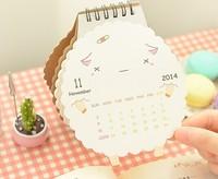 Free ship 1lot=5pcs/korean stationery kawaii Sheep calendar 2015 Cute cartoon animal small desk calendar school supplies