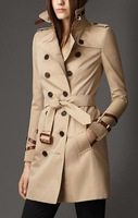 2014 New Autumn Winter Women's High Quality Brand Long Trench Coat with Genuine Leather Free Shipping BR-9