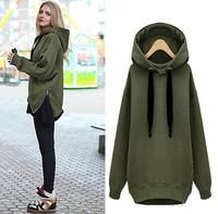 XL Plus Size 2014 Casual Women Velvet Thickening Sweatshirt Side Zipper Design Cotton Hoodies Pullover Brand Sportswear H142501