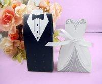 Wholesale 100PCS/lot Tuxedo Dress Groom Bridal Wedding Party Favor Boxes Ribbon Box Candy Gift Box
