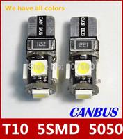 10pcs T10 5050 Canbus Free Error Car Clearance lights 5SMD Xenon LED Wedge bulbs Auto Fog light 194 W5W Brake lamp LED DRL