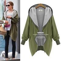Plus Size XL~5XL Women Hoody New Fashion 2014 Winter irregular Double Zip Cotton Casual Hooded Coat Long Outerwear  H142503